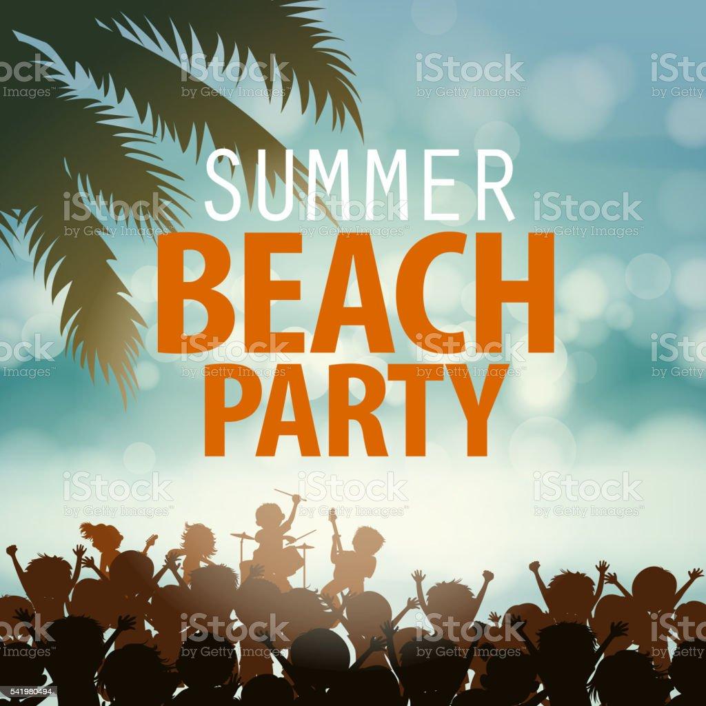Summer beach Rock Music Festival vector art illustration