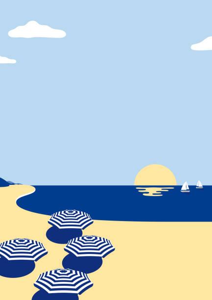 bildbanksillustrationer, clip art samt tecknat material och ikoner med sommar strand scen bakgrunden - spegling