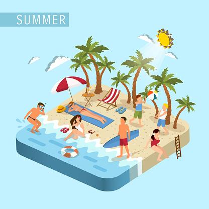 summer beach scene concept