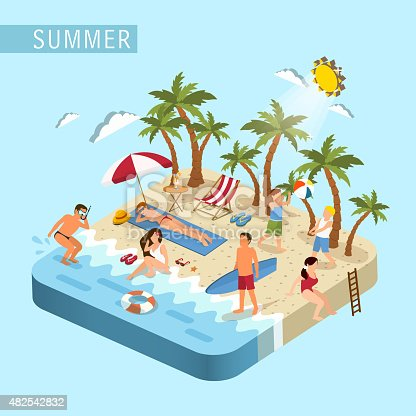 flat 3d isometric design of summer beach scene concept