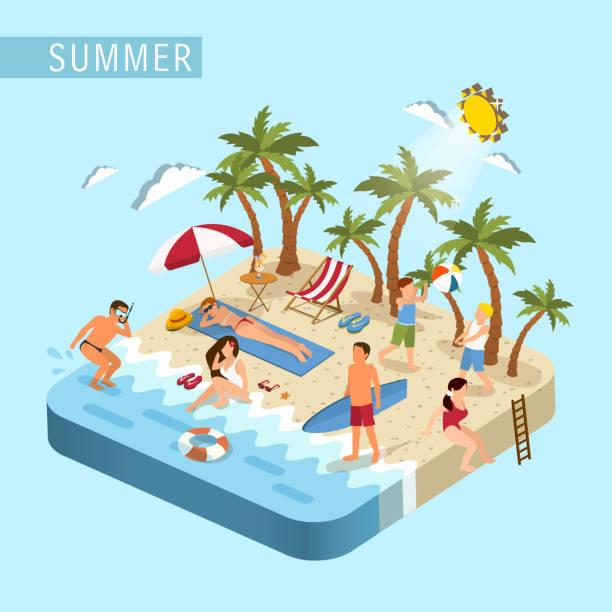 stockillustraties, clipart, cartoons en iconen met summer beach scene concept - 2015