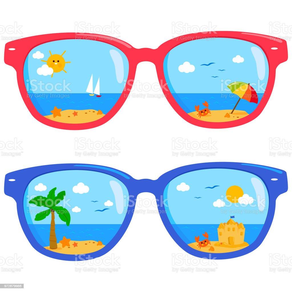 Summer Beach Scene Reflected In Colorful Sunglasses Stock