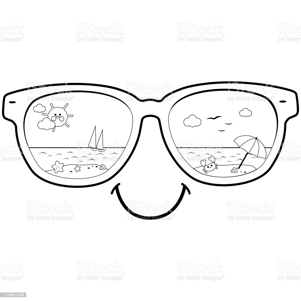 Summer Beach Scene Reflected In Sunglasses Vector Black And