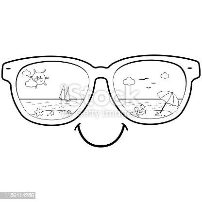 Tropical summer beach scene reflected in sunglasses. Vector black and white coloring page