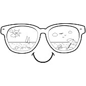 Summer beach scene reflected in sunglasses. Vector black and white coloring page