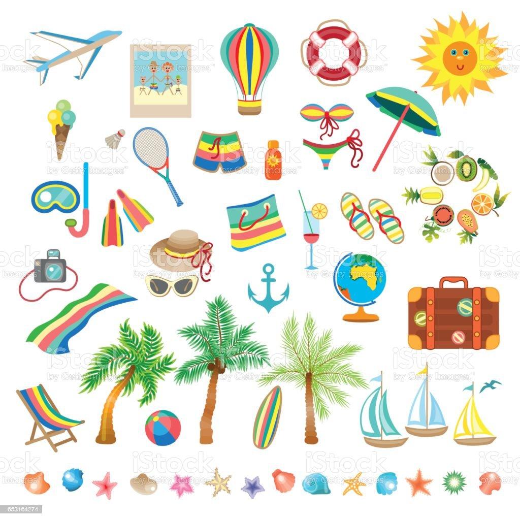 Summer beach, set of icons vector art illustration