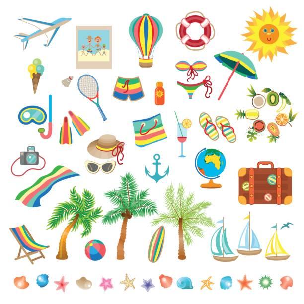 sommerstrand von icons - mittel stock-grafiken, -clipart, -cartoons und -symbole