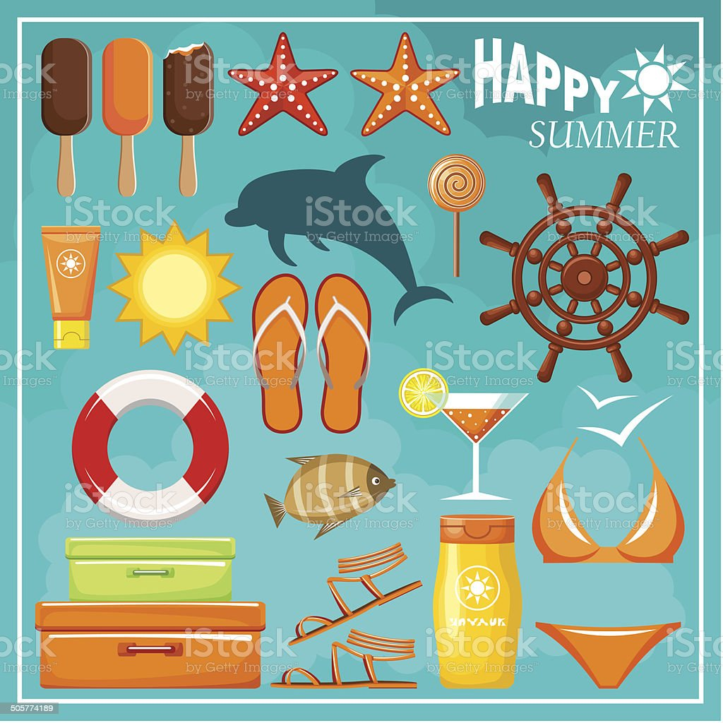Summer beach set. royalty-free stock vector art