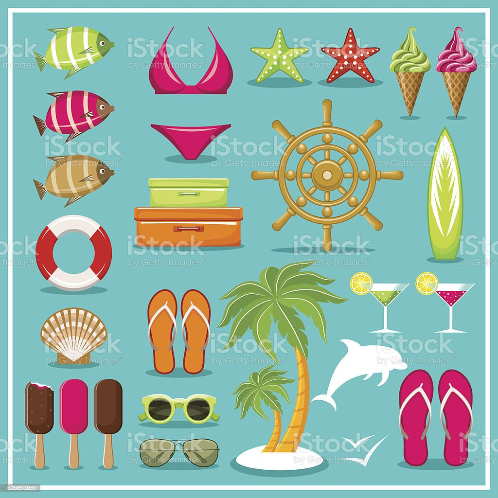 Summer beach set. royalty-free stock vector art