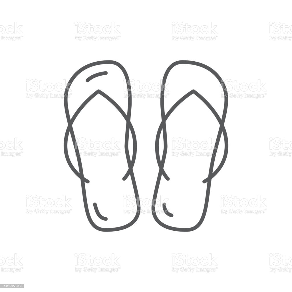 b1d94c47c Summer beach shoes flip-flops editable icon isolated on white background.  royalty-free
