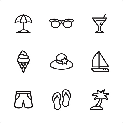 Summer Beach - Single Line icons