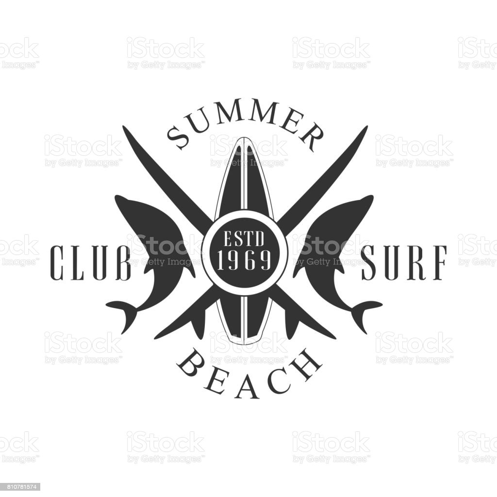 Summer Beach Surf Club Icon Template Black And White Vector