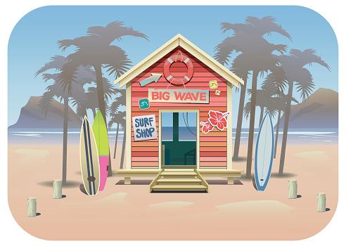 Summer beach surf shak