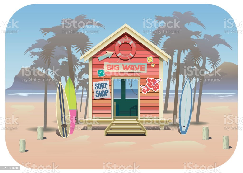 Summer beach surf shak vector art illustration
