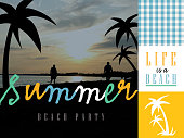Summer beach themed set of elements including text design