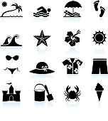 Summer beach time black and white icon set