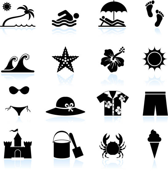 Summer beach time black and white vector icon set Summer beach time black and white icon set beach symbols stock illustrations