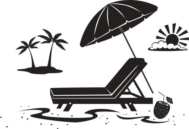 sommer strand zeit urlaub silhouette hintergrund mit sonnenschirm, sonnenliege stuhl und palm-baum am meer - sonnenstuhl stock-grafiken, -clipart, -cartoons und -symbole