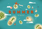 EPS 10 summer beach top view islands illustration