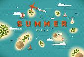 Summer beach top view islands illustration