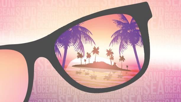ilustrações, clipart, desenhos animados e ícones de verão praia tropical island com óculos de sol no fundo desfocado - ilustração vetorial - viagem de primeira classe