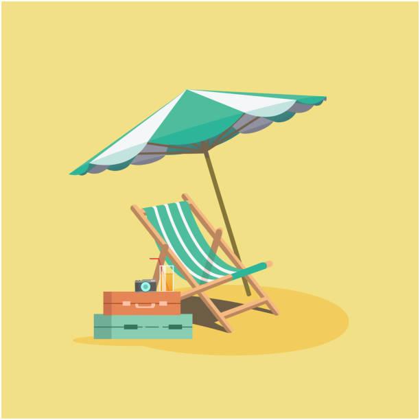 Summer Beach Umbrella Chair Baggage Yellow Background Vector Image Summer Beach Umbrella Chair Baggage Yellow Background Vector Image patio stock illustrations