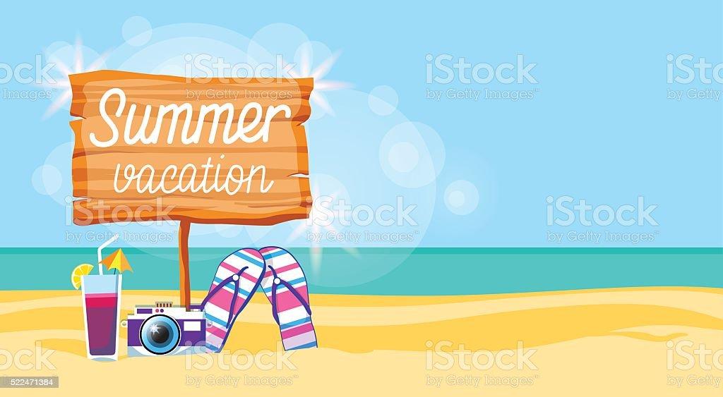 Ilustración de Cartel De Vacaciones De Verano Playa Colorido Flip ...
