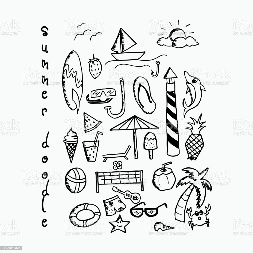Summer beach vacation doodle hand drawn line art set.