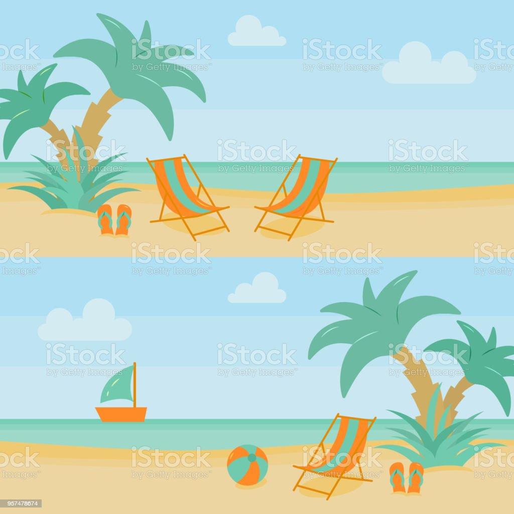 41679f2f18126 Yaz plaj tatil yatay Banner lounge ve tatil aksesuarları ile kum su  yakınında palmiye ağaçları ile