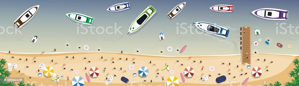 Summer Beach Vacation Set Sand Tropical Holiday Banner vector art illustration