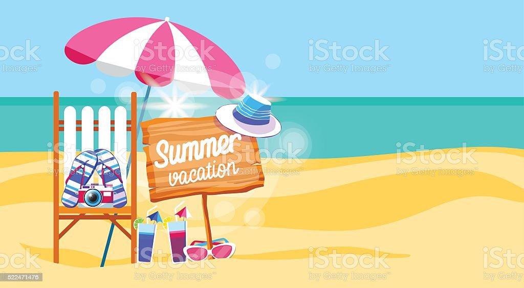 Liegestuhl mit sonnenschirm strand  Sommer Strand Urlaub Im Liegestuhl Mit Sonnenschirm Strand ...