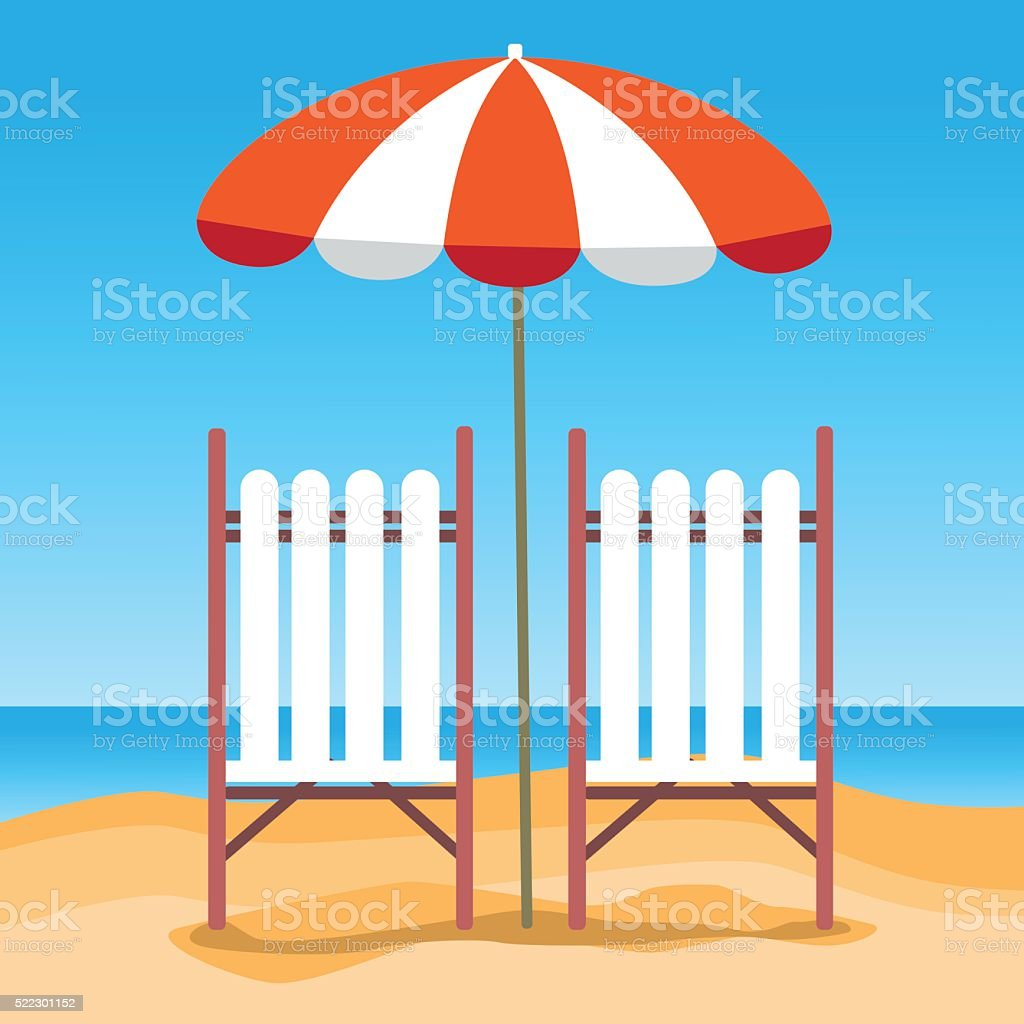 sommer strand urlaub liegestuhl mit sonnenschirm strand stock vektor art und mehr bilder von. Black Bedroom Furniture Sets. Home Design Ideas
