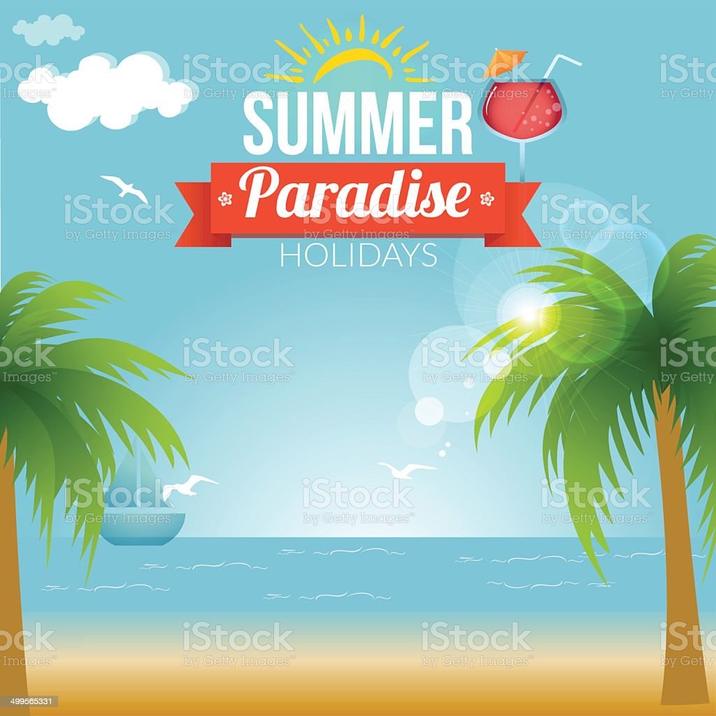 Summer beach vector background vector art illustration