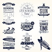 Summer Beach Vector Calligraphy Design Elements in Vintage style