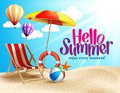 Summer Beach Vector Design in the Seashore with Beach Umbrella