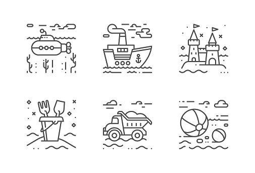 Summer beach vector icons set. The icons are pixel perfect. You will be able to change the color and size.