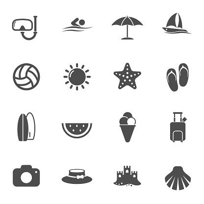 summer beach vector icons