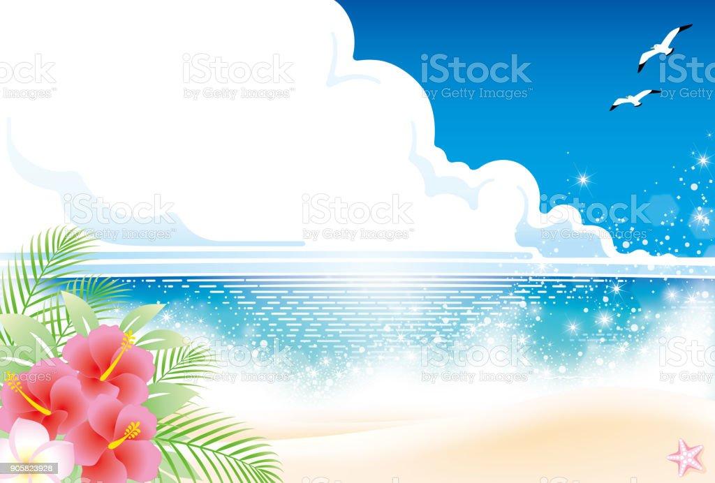 夏のビーチ  ベクターアートイラスト