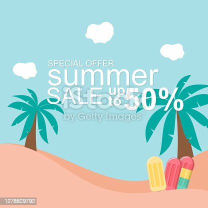 istock summer beach vector illustration for poster sale design with paper cur concept 1278829792