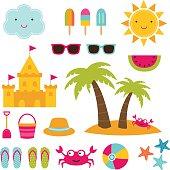 Summer beach vector set