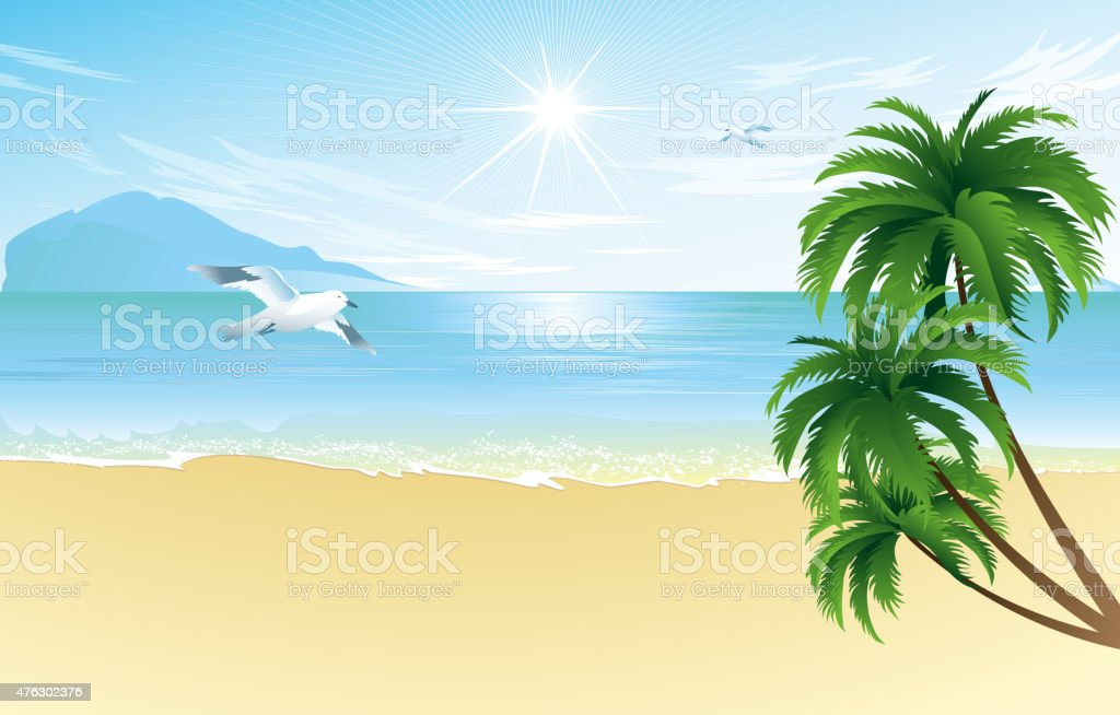Summer beach with palm trees vector art illustration