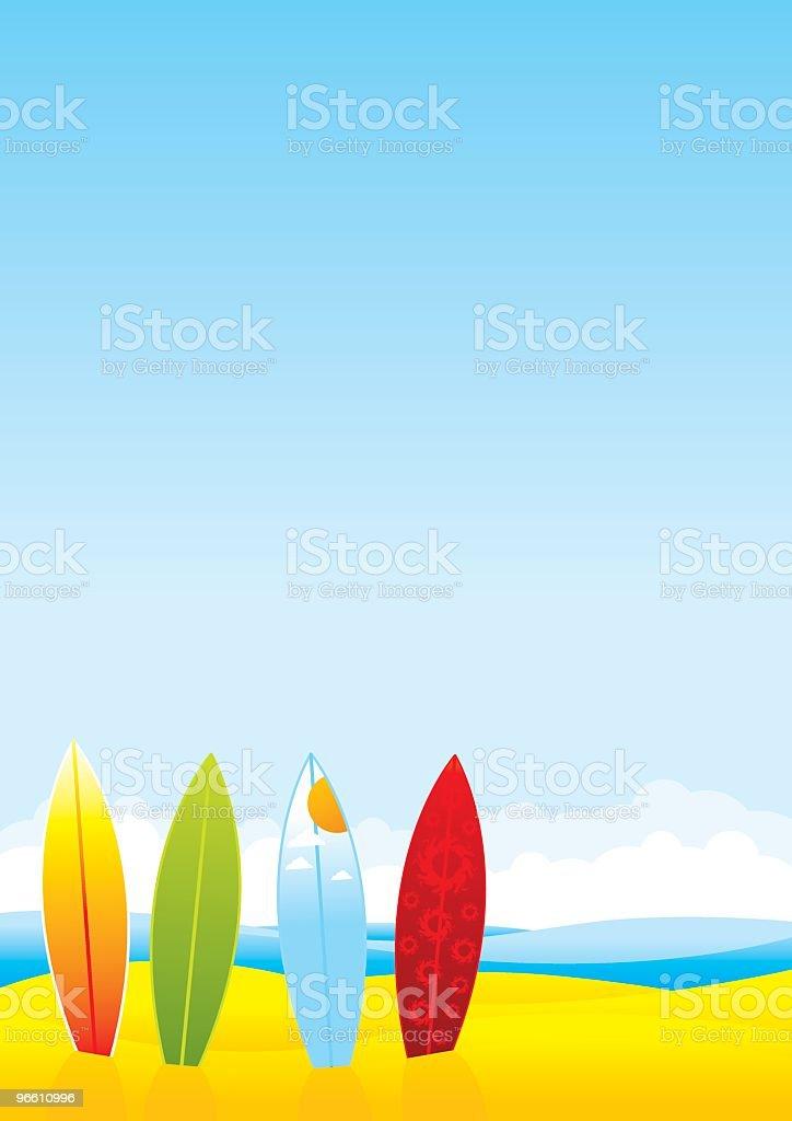 Summer Beach with surfboards - Royaltyfri Dag vektorgrafik