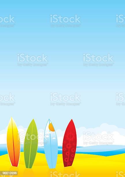 Summer Beach With Surfboards-vektorgrafik och fler bilder på Dag