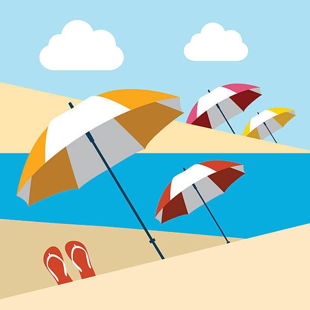 stockillustraties, clipart, cartoons en iconen met summer beach with umbrellas. flat design. - newspaper beach