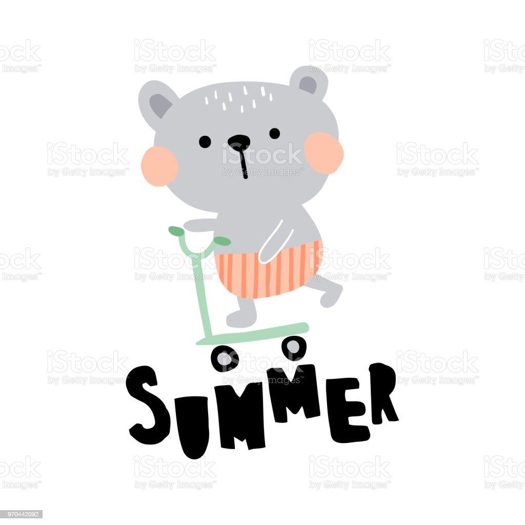 summer bear vector art illustration