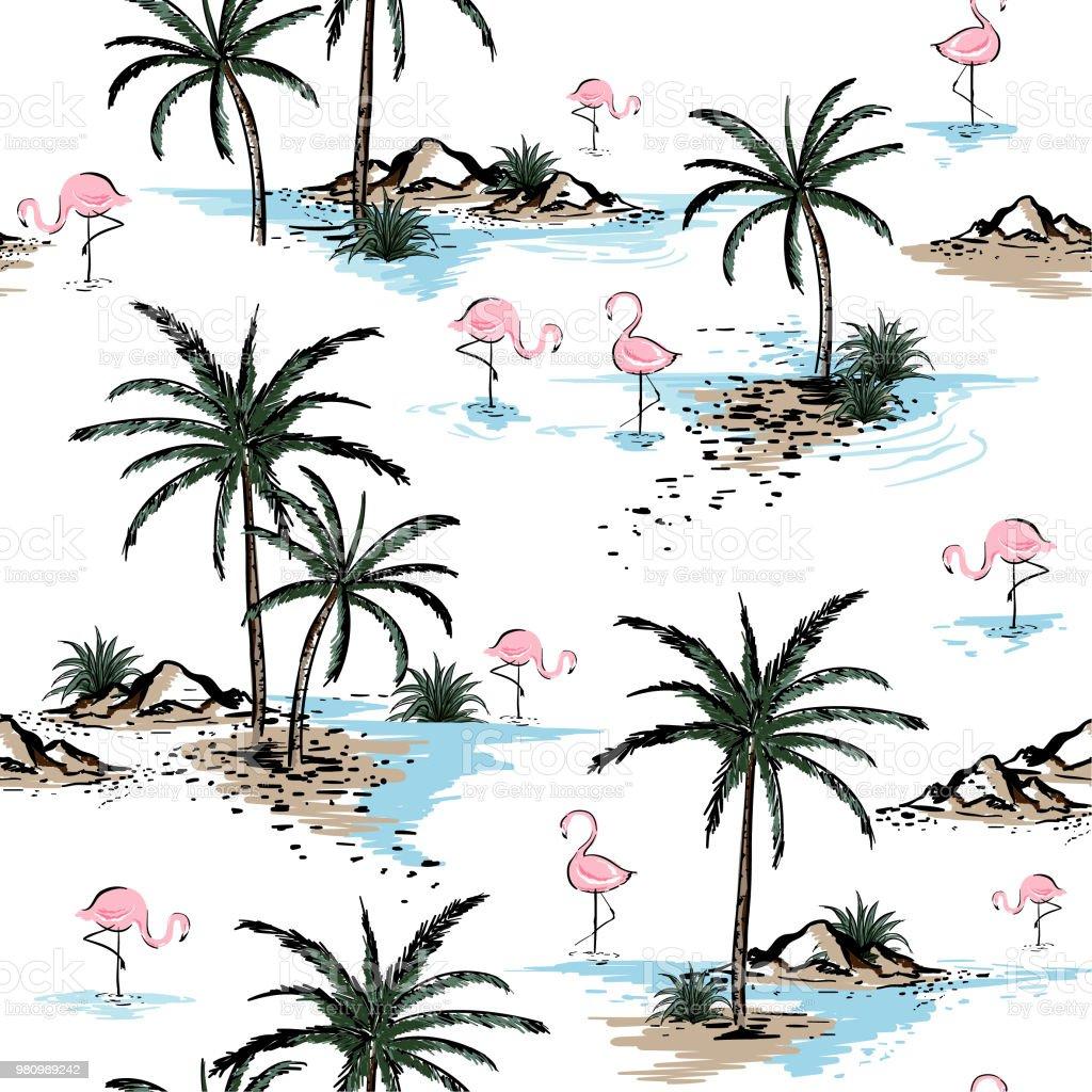 Summer Beautiful Seamless Island Pattern On White Background ...