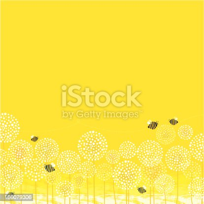 Bees are flying above dandelions. Summer time. Vector. EPS 8.