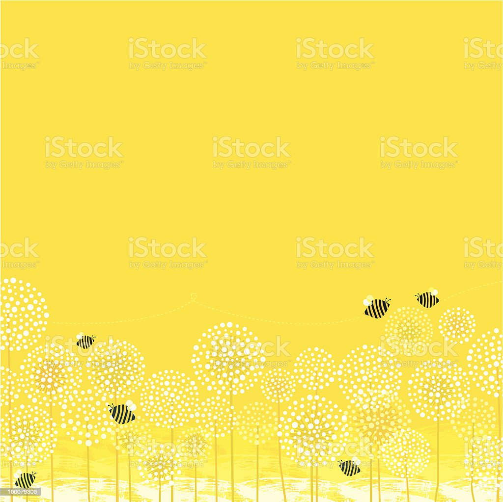 Summer Bees Background vector art illustration