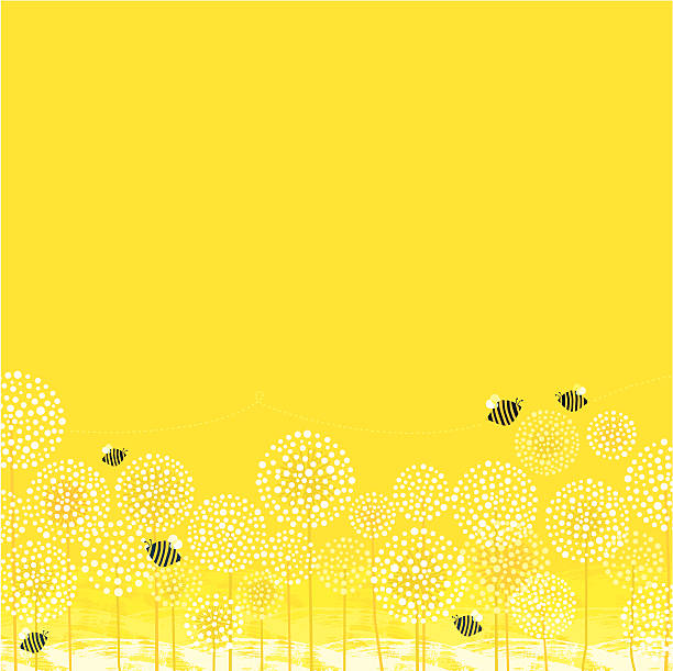 Summer Bees Background vector art illustration
