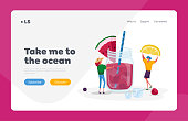 istock Summer Beverage Landing Page Template. Tiny People Put Lemon to Huge Glass Jar with Watermelon Pink Juice, Ice Cubes and Straws. Female Characters Drinking Cold Drinks. Cartoon Vector Illustration 1251351911